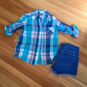 Natural Reflections summer plaid button down shirt